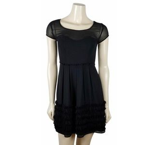 LC Lauren Conrad Black Ruffle Hem Mesh Dress